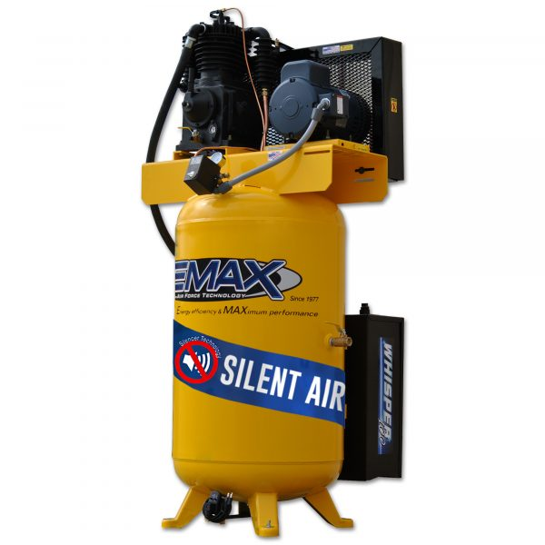 5 HP Air Compressor, 80 Gallon, 3 Phase, Silent Air System, EMAX Industrial Plus