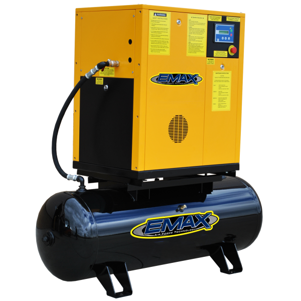7.5 HP Rotary Screw Air Compressor, Three Phase, Mounted on 80 Gallon Tank, Emax Industrial