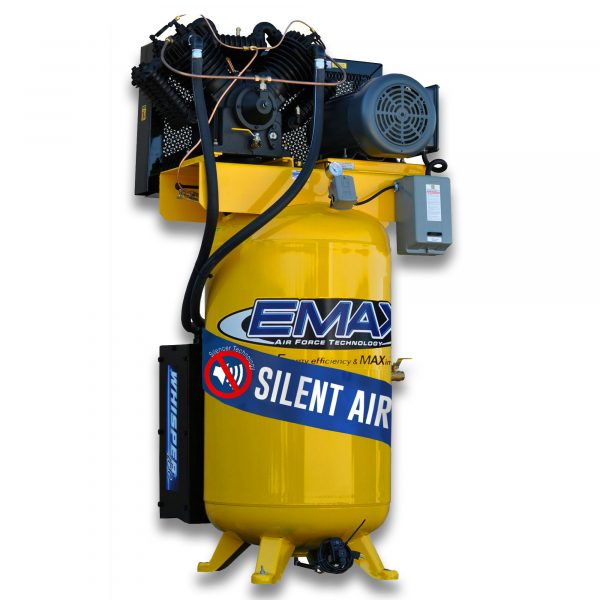 7.5 HP Air Compressor, 80 Gallon, 1 Phase, Silent Air System, EMAX Industrial Plus