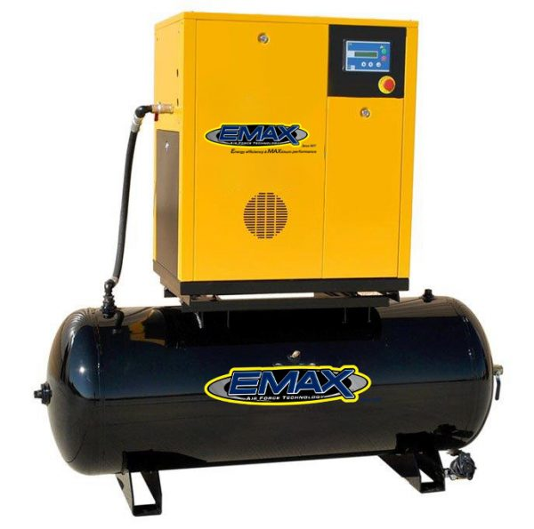 15 HP Rotary Screw Air Compressor, Three Phase, Mounted on 120 Gallon Tank, Emax Industrial