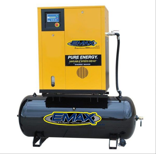 10 HP Rotary Screw Air Compressor Mounted on 80 Gallon Tank, Three Phase, Variable Speed, Emax Industrial