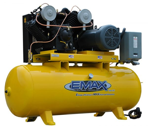7.5 HP Air Compressor,  3 Phase, 80 Gallon, Horizontal, Emax Industrial Plus