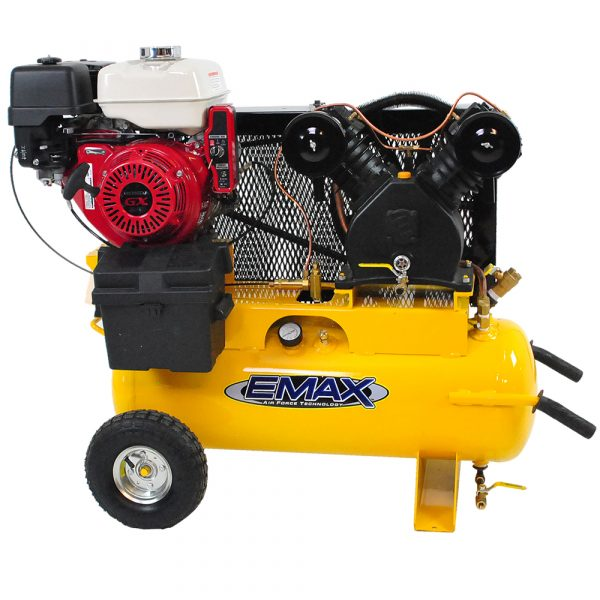 8 HP Gas Air Compressor, With Wheels, 17 Gallon, Honda Electric Motor, EMAX Industrial