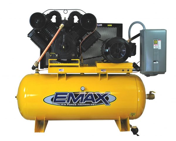 25 HP Air Compressor, 3 Phase, 120 Gallon, Horizontal, Emax Industrial Plus
