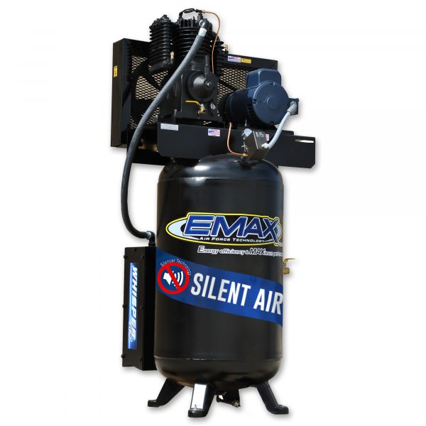 5 HP Air Compressor, 2 Stage, 1 Phase, 80 Gallon, Vertical, Silent Air System, Emax Industrial