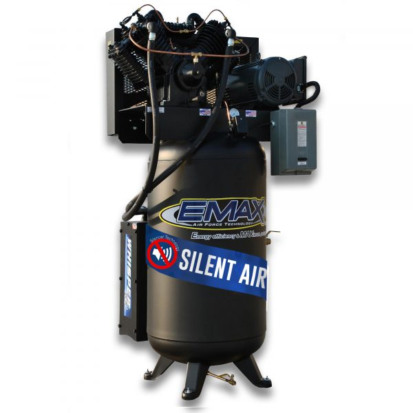 7.5 HP Air Compressor, 2 Stage, V4, 1 Phase, 80 Gallon, Vertical, Silent Air System, Emax Industrial