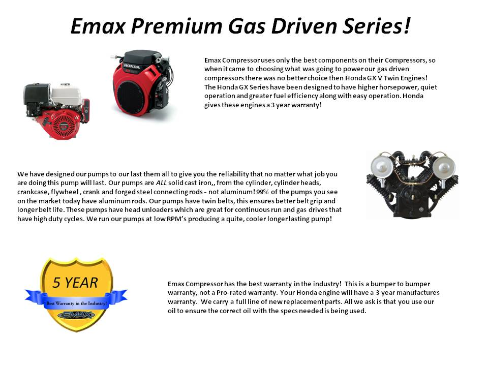 Emax Compressor | 24 HP Gas Air Compressor, 2 Stage, 3 Cycle
