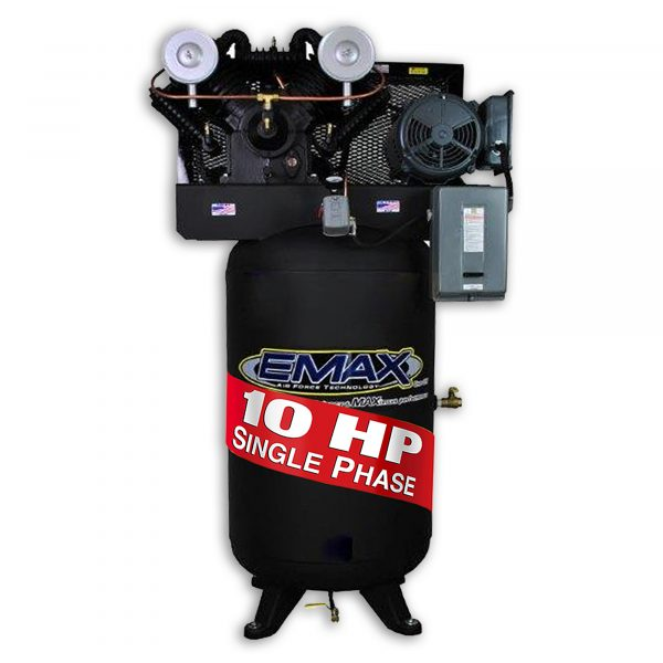 10 HP Air Compressor, 2 Stage, Single Phase, V4, 80 Gallon, Vertical, Industrial