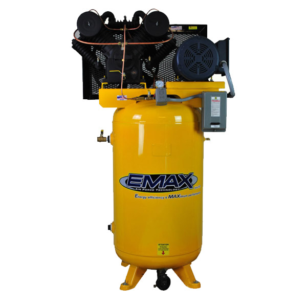 7.5 HP Air Compressor, Single Phase, 80 Gallon, Vertical, Emax Industrial Plus