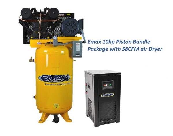 10 HP Air Compressor Package, 2 Stage, 3 Phase, 80 Gallon Tank with Air Dryer