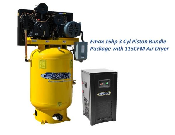 15 HP Air Compressor with Air Dryer Package, 120 Gal, 3 Cyl, 2 Stage, 3 Phase