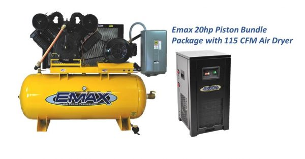 20 HP Air Compressor with Dryer, 2 Stage, 3 Phase, 120 Gallon, by Emax
