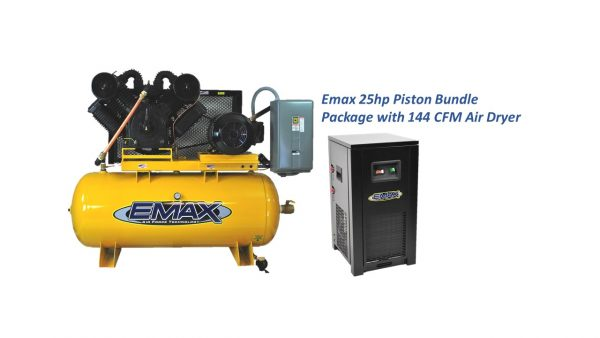 25 HP Air Compressor, 2 Stage, 3 Phase,120 Gallon with Refrigerated Air Dryer Bundle