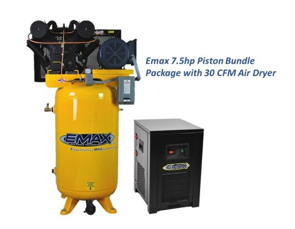 7.5 HP Air Compressor Package, 2 Stage, 3 Phase, 80 Gallon Tank with Air Dryer