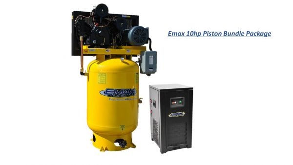 10 HP Air Compressor Package, 3 Cycle, 2 Stage, 1 Phase, 120 Gallon Tank with Air Dryer