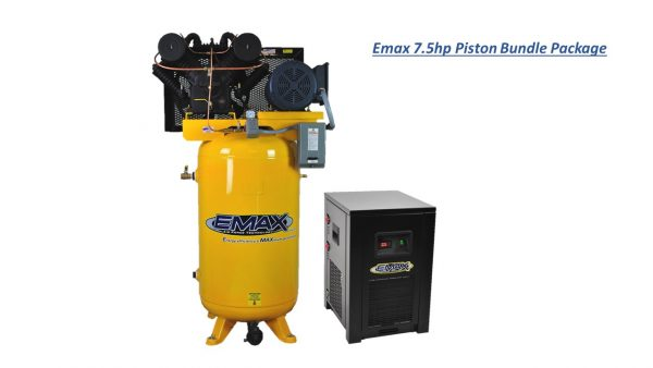 7.5 HP Air Compressor Package, 2 Stage, 1 Phase, 80 Gallon Tank with Air Dryer