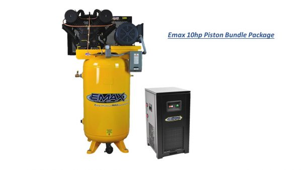 10 HP Air Compressor Package, 2 Stage, 1 Phase, 80 Gallon Tank with Air Dryer