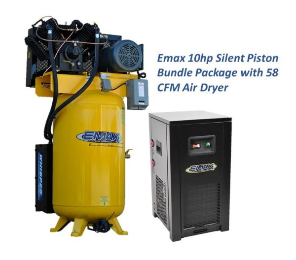 10 HP Air Compressor with 58 CFM Air Dryer, 3 Phase, Silent Air System, Piston
