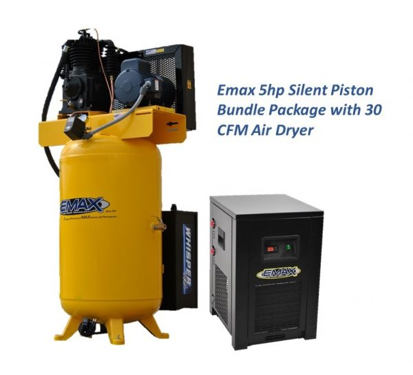 5 HP Air Compressor with 30 CFM Air Dryer, 3 Phase, Silent Air System, Piston