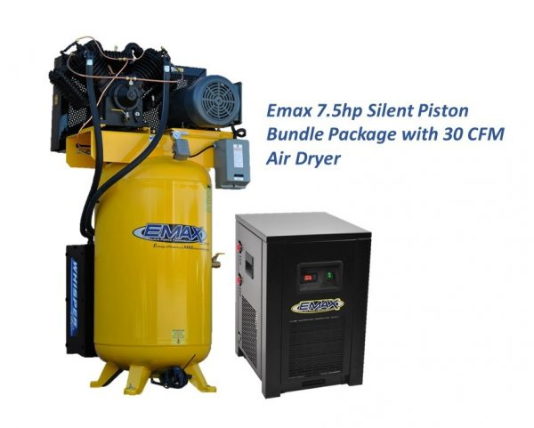 7.5 HP Air Compressor with 30 CFM Air Dryer, 3 Phase, Silent Air System, Piston