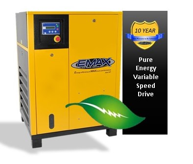 7.5 HP Rotary Screw Air Compressor, 3 Phase, Variable Speed, EMAX Industrial