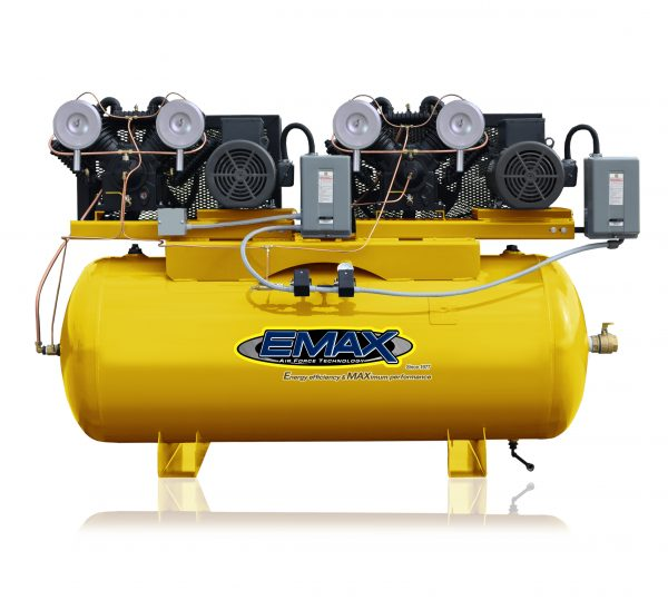 15hp 1PH 120 gallon Horizontal Duplex mounted alternating Piston Compressor -EP07D120V1