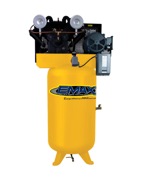 7.5 HP Air Compressor, 2 Stage, Single Phase, V4, 80 Gallon, Vertical, Industrial