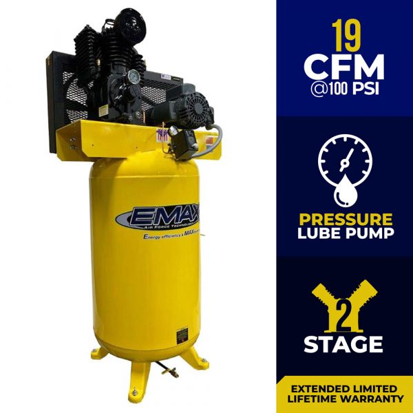 5 HP Air Compressor, 80 Gallon, 2 Stage, Single Phase, Inline, Vertical, EI05V080I1
