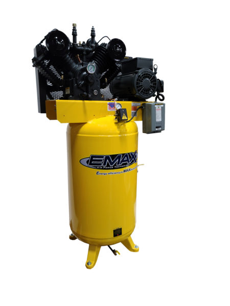 7.5 HP Air Compressor, 2 Stage,Pressure Lubricated, Single Phase, V4, 80 Gallon, Vertical, Industrial