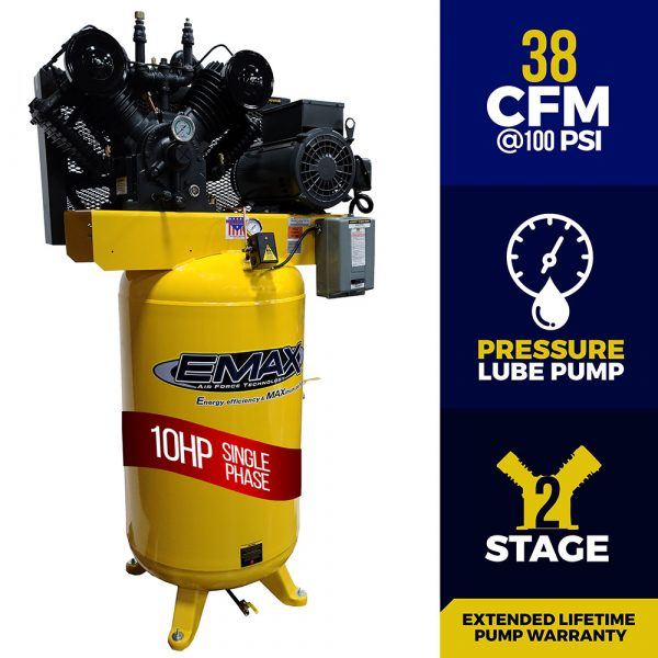 10 HP Air Compressor, 2 Stage,Pressure Lubricated, Single Phase, V4, 80 Gallon, Vertical, Industrial