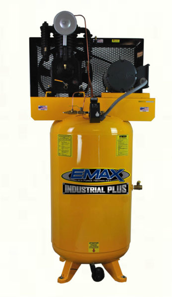 5 HP Air Compressor, 3 Phase, 80 Gallon, Vertical, Emax Industrial Plus