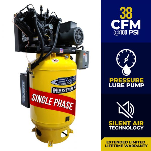 10 HP Air Compressor, 120 Gallon, 1 Phase, 2 Stage Pressure Lubricated, Silent Air System,  EMAX Industrial Plus