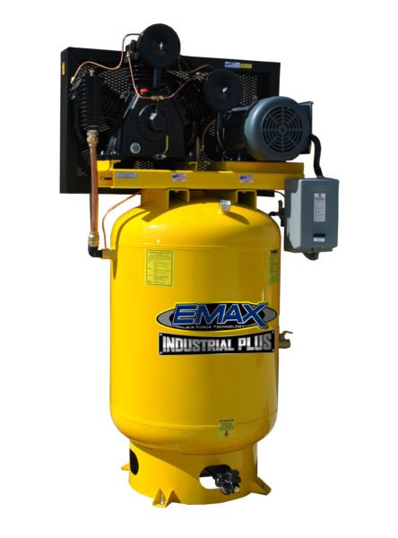 10 HP Air Compressor, Single Phase, 120 Gallon, Vertical, Emax Industrial Plus