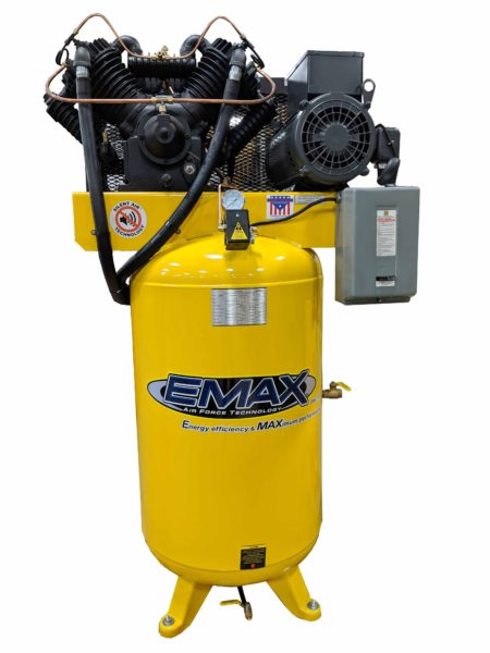 10 HP Air Compressor, 2 Stage, V4, 1 Phase, 80 Gallon, Vertical, Silent Air System, Industrial