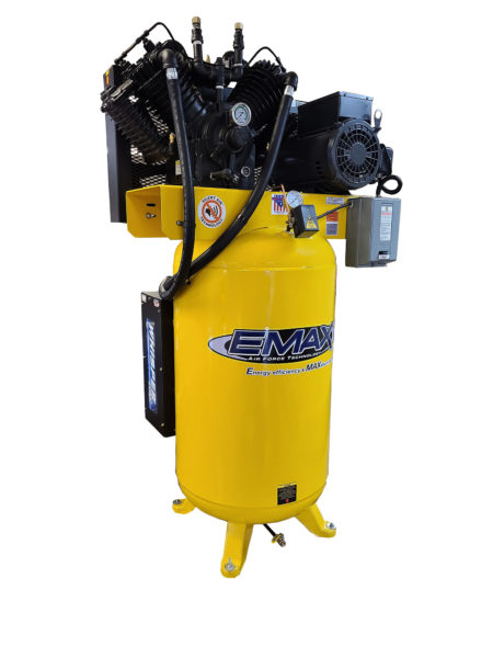 7.5 HP Air Compressor, 2 Stage,Pressure Lubricated, V4, 1 Phase, 80 Gallon, Vertical, Silent Air System, Emax Industrial