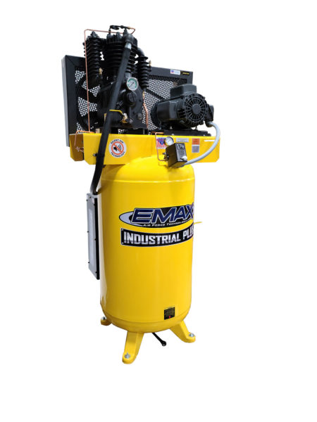 5 HP Air Compressor, 80 Gallon, 1 Phase, 2 Stage, Pressure Lubricated, Silent Air System, EMAX Industrial Plus