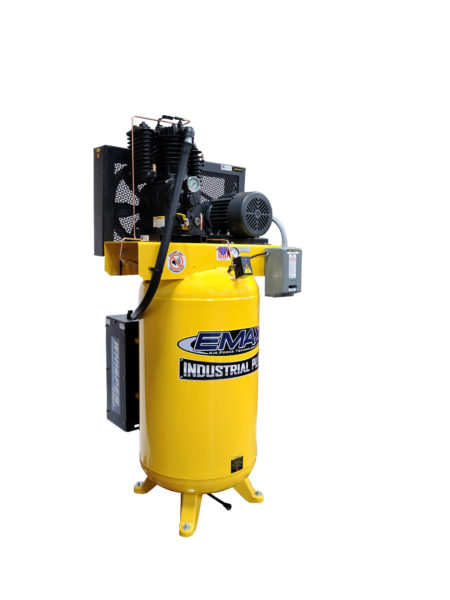 5 HP Air Compressor, 80 Gallon,2 Stage Pressure Lubricated,  3 Phase, Silent Air System, EMAX Industrial Plus