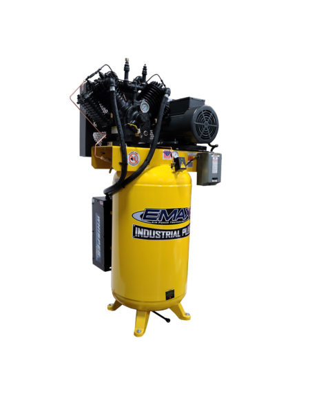 7.5 Air Compressor, 80 Gallon, 3 Phase,2 Stage Pressure Lubricated,  Silent Air System, EMAX Industrial Plus