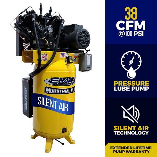 10 HP Air Compressor, 80 Gallon, 3 Phase,2 Stage Pressure Lubricated,  Silent Air System, EMAX Industrial Plus