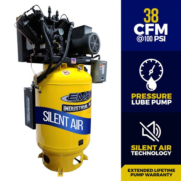 10 HP Air Compressor, 120 Gallon, 3 Phase, 2 Stage Pressure Lubricated, Silent Air System,  EMAX Industrial Plus