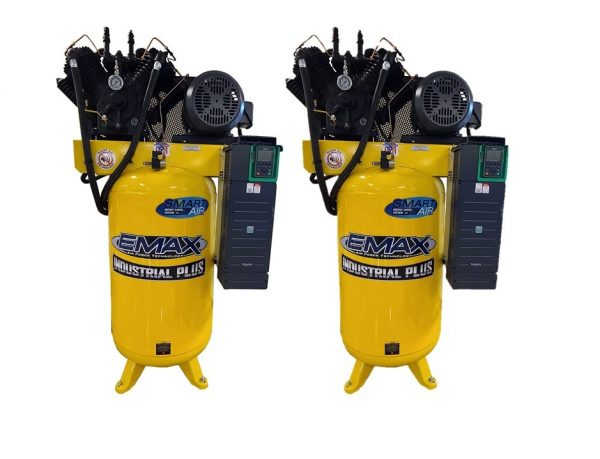 Two 10HP 80 gallon single/three phase  Dual Alternating Smart air compressors with pressure lube pump and radiator system-EVR10A080V13