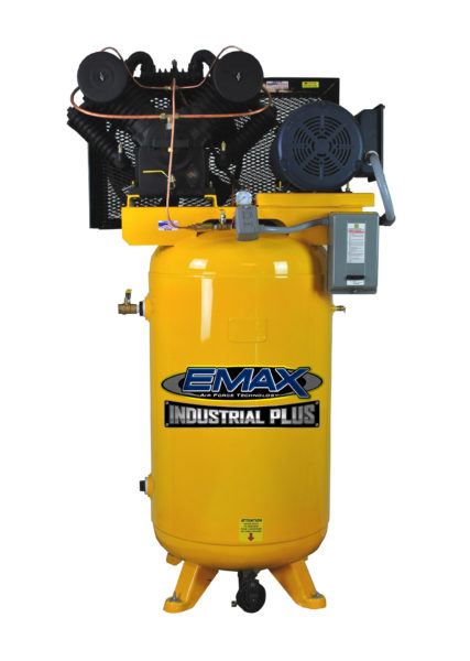 10 HP Air Compressor, Single Phase, 80 Gallon, Vertical, Emax Industrial Plus
